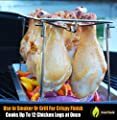 Chicken Wing & Leg Rack For Grill Smoker or Oven - Stainless Steel Vertical Roaster Stand & Drip Pan For Cooking Vegetables In BBQ Juices - Dishwasher Safe Barbecue Accessories by Cave Tools