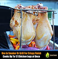 Chicken Wing & Leg Rack For Grill Smoker or Oven - Stainless Steel Vertical Roaster Stand & Drip Pan For Cooking Vegetables In BBQ Juices - Dishwasher Safe Barbecue Accessories by Cave Tools from Cave Tools