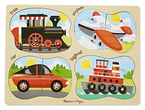 Melissa & Doug Vehicles 4-in-1 Wooden Peg Puzzle - Train, Airplane, Car, and Tugboat (Airplanes Picture 4)