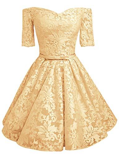 Sconto In Pizzo Ritorno Donne Bess Di Sposa Delle Vestito Promenade In Casa Breve Dall'arco Oro Del A Da Partito Spalla Wv00frnYH
