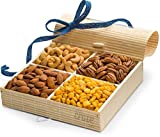 Gourmet Nuts Gift Baskets ~ Holiday Nut Gifts, Christmas Baskets or Thanksgiving Food Baskets ~ 4 Sectional Nut Tray with Stunningly Presented Nut Basket ~ Nut Gift Box and Assorted Nuts Snack Basket For Sale