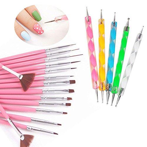 Yimart 20pcs/set Nail Art Design Drawing Brushes Dotting (Design Brush)