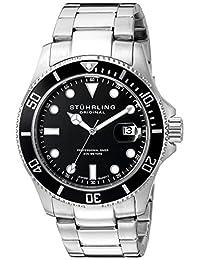 Stuhrling Original Men's 417.02 Aquadiver Regatta Espora Swiss Quartz Professional Diver Black Dial Stainless Steel Bracelet Date Watch