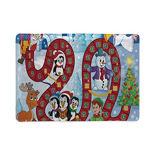 Board Game Utility Notebooks,Christmas Themed Composition with Santa Claus Cartoon Angel Snowman Penguins Elf for Work,5.82