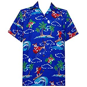 Hawaiian Shirt 41 Mens Christmas Santa Claus Party Aloha Holiday Blue L
