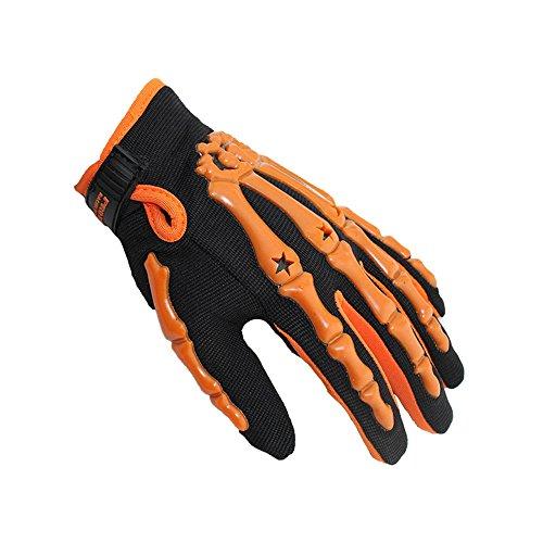 Qiorange Skeleton Cycling Racing Bicycle Motorcycle Riding Full Finger Bone Gloves (orange, XL)