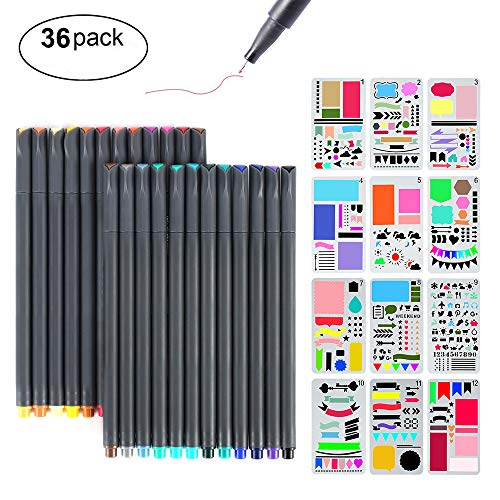 Colored Scrapbook Kit - Bullet Journal Stencil Kit, MaleDen 24 Colored Fine Tip Markers Planner Pens with 12 Journaling Stencils Set for Notebook Diary Calendar Scrapbook Supplies