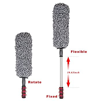 NO.1 Premium Car and Home Duster, Doace 2 Pieces Multipurpose Car Dust Brush with Telescopic Handle for 360 Degrees Clearing