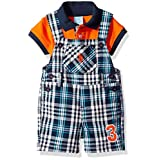 U.S. Polo Assn. Baby Boys' 2 Piece Polo Shirt and Shortall Set, Multi Plaid, 6/9 Months