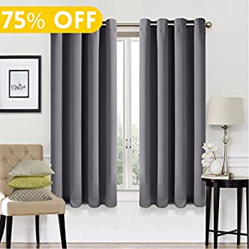 living room panel curtains. 99  Blackout Window Curtain Panel Grommet Top Drapes 2 Set Room Darkening Thermal Insulated Amazon com Panels for Living Grey Color