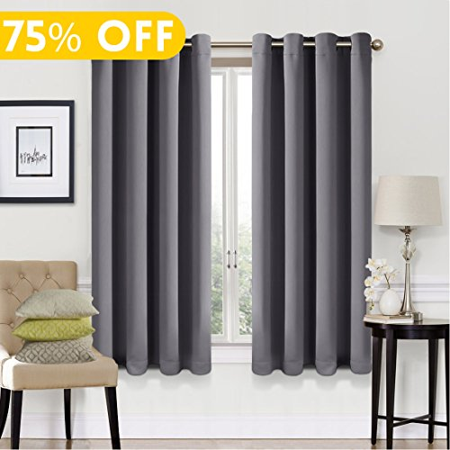 Blackout Curtains 2 Panels Set Room Darkening Drapes Thermal Insulated Solid Grommets Window Treatment Pair for Bedroom, Nursery, Living Room,W52xL63 inch,Dark - Solid Dark Grey