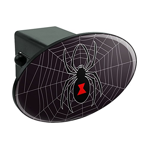 Black Widow Spider on Web Oval Tow Hitch Cover Trailer Plug
