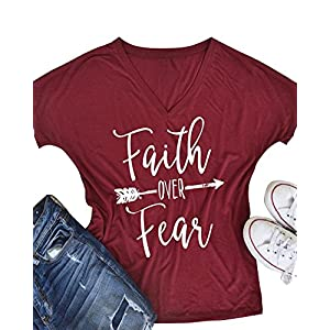 Pxmoda Women's Casual Letters Printed T-Shirt Short Sleeves Faith Over Fear Arrow Tee Tops