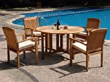"New 5 Pc Luxurious Grade-A Teak Dining Set - 48"" Round Butterfly Table And 4 Wave Stacking Arm Chairs #WHDSWV1"