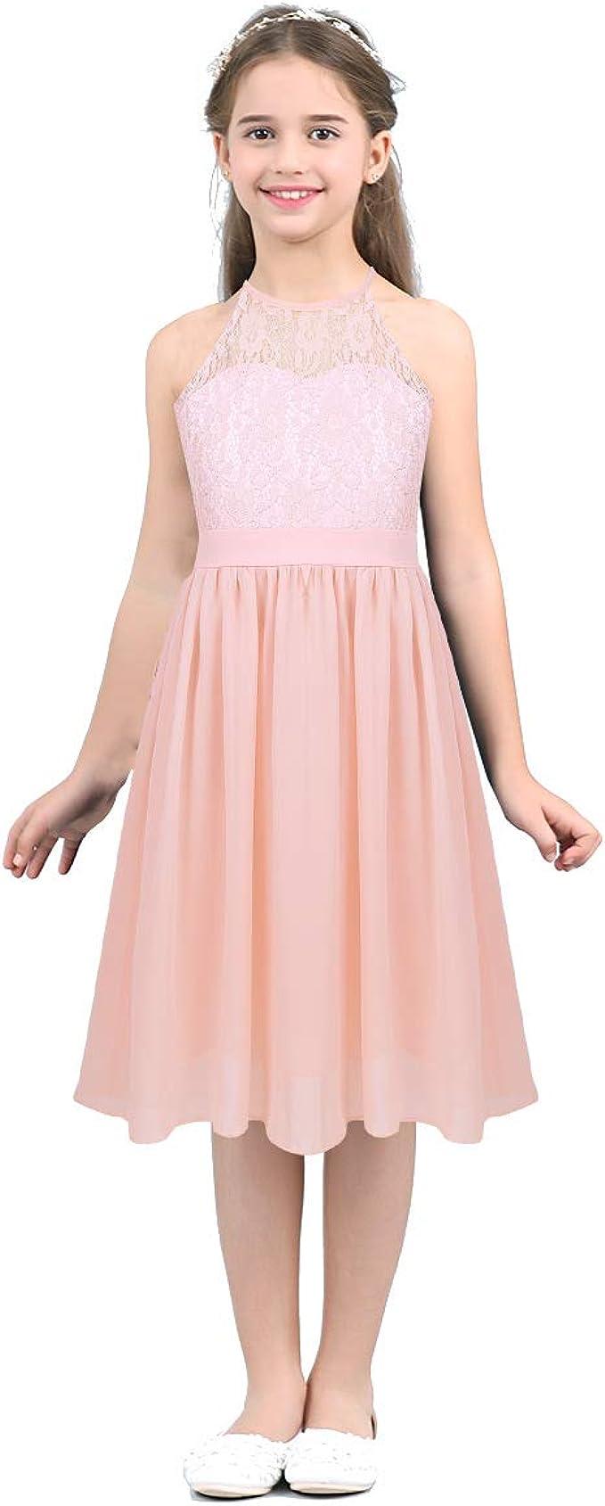 dPois Mädchen Neckholder Kleid Festlich Partykleid Spitze Oberteil Chiffon  Rock Blumenmädchenkleid Taufkleid für Abend Geburtstag Gr.16-16