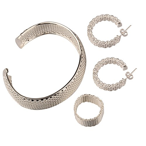Wedding 925 Silver Plated Jewelry Set Hand Chain Bracelet Ring Hook Earings Eardrop White Wide Net Weave