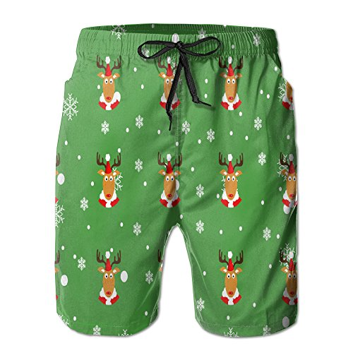 Mens Merry Christmas Green Shorts Pockets Swim Trunks Beach Shorts,Boardshort