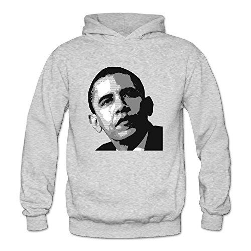 Obama Sweatshirt Barack Hooded (MARY Women's Handsome USA President Barack Obama Hooded Sweatshirt Ash)