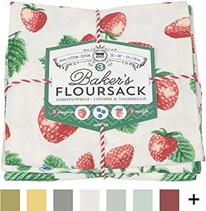 Now Designs Floursack Kitchen Towels, Set of Three, Royal Blue/White
