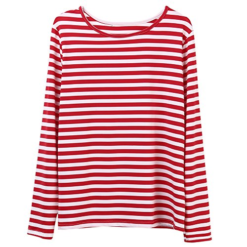Faithtur Women Red White Striped Long Sleeve Casual Crewneck Tops Blouse (Tag S)