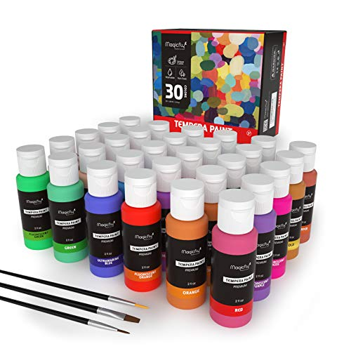 Washable Paint for Kids, Magicfly 30 Colors (2 oz Each) Liquid Tempera Paints Assorted Colors Non-Toxic Kids Paint with Fluorescent Glitter Metallic Neon Colors for Finger Painting, Hobby Painters (Paint Kit For Kids)