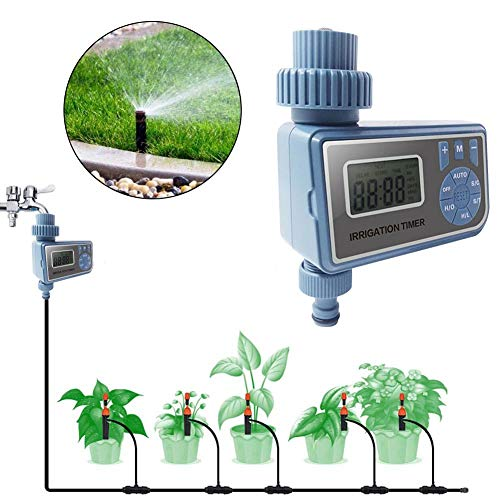 (Yunhigh Watering Timers Controllers - Automatic Irrigation Programmer with LED Light ; LCD Screen and Large Adjust Button - Hose Faucet Timer for Garden Patio Seeds - 1/3/5 s Pack)