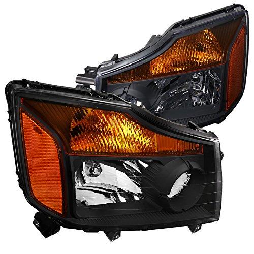 (Spec-D Tuning 2LH-TIT08JM-RS Nissan Titan Pickup Armada Amber Black Diamond Headlights Pair)
