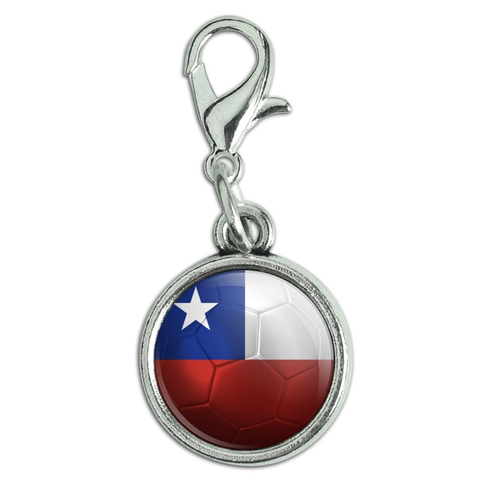 Graphics and More Antiqued Bracelet Pendant Zipper Pull Charm with Lobster Clasp Soccer Futbol Football Country Flag A-I