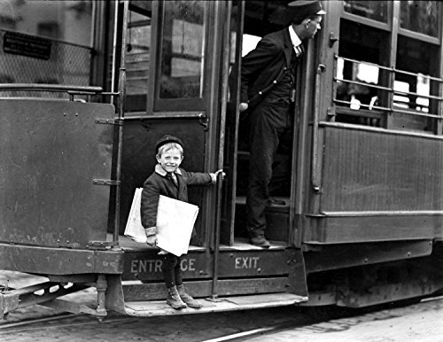 "1910 Young Newsboy Riding a Streetcar, St Louis, Missouri Vintage Photograph 8.5"" x 11"" Reprint"