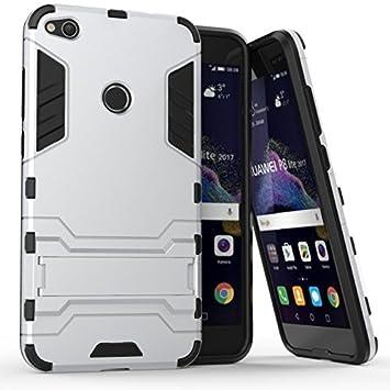 Huawei P8 Lite 2017 Funda Huawei P8 Lite 2017 Carcasa, LTWS [Armor Series] 2in1 Combinación Escudo Cáscara Dura funda carcasa case para Huawei P8 LITE 2017 (Black Plus Gray)