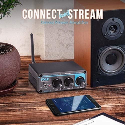 Bluetooth HiFi Mini Audio Amplifier – Class D Digital Desktop PC Stereo Amplifier Receiver (2 x 100 Watt MAX) Aluminum Diecast- Pyle PDA20BT 51Ef6IBBBHL
