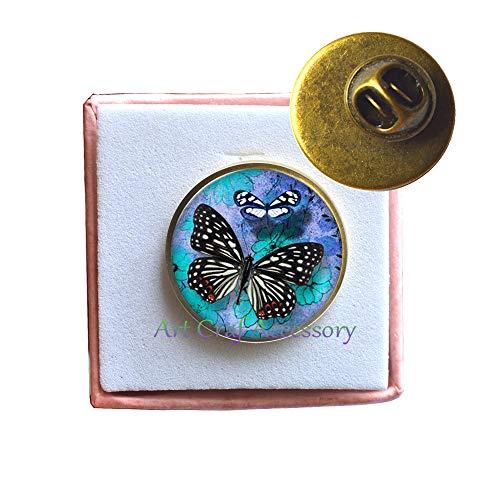 Blue Butterfly Pattern Pin Brooch Charm Jewelry Brooch Silver Plated Fashion Jewelry Men,T0011