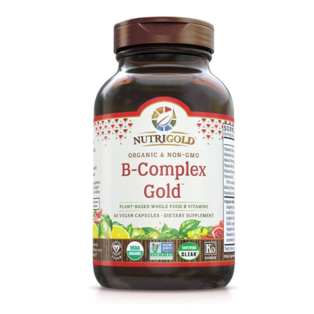 Nutrigold Vitamin B-Complex Gold Organic, Plant-based, Whole-food 60 Organic Capsules