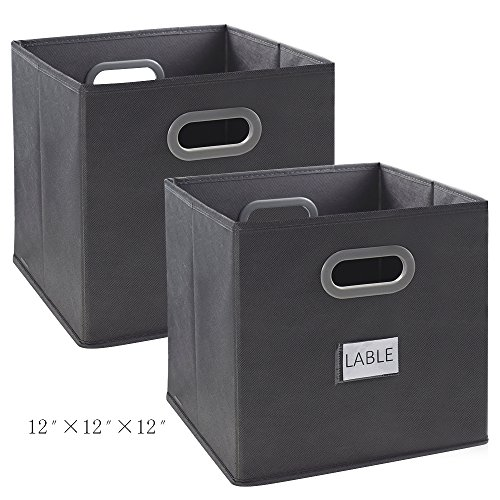 Cloth Storage Bins, Homyfort Foldable Basket Cubes Organizer Container Drawers with Dual Plastic Handles for Closet, Bedroom, Toys, 2 Pack,Grey Large(12x12x12 in) (Storage 2 Bin Drawer)