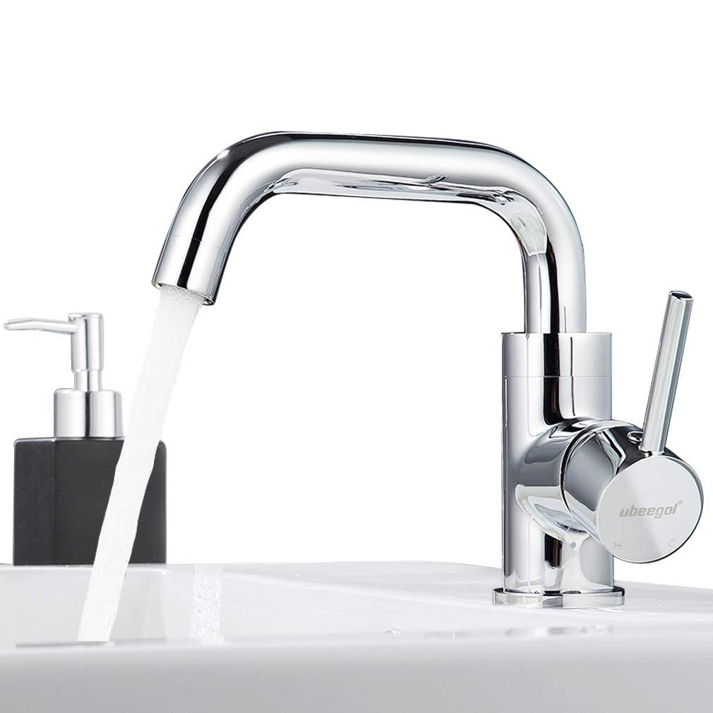 ubeegol Messing Chrom Wasserhahn Bad 360° Drehbar Waschtischarmatur Waschbeckenarmatur Badarmatur Waschtisch Armatur Waschbecken Mischbatterie Einhebelmischer