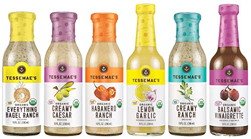 Tessemaes All Natural Dressings Lovers Variety Pack: Organic Creamy Caesar Organic Everything Bagel Organic Habanero Ranch Organic Lemon Garlic Organic Creamy Ranch Organic Balsamic Vinaigrette