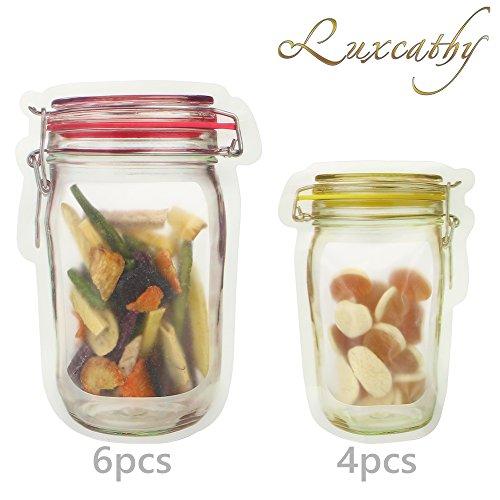 Luxcathy 10 Counts Mason Jar Pattern Food Saver Storage Bags Set ( 500ml x 6 + 150ml x 4) - Airtight , Zipper, Portable
