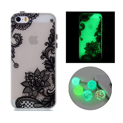 iPhone 5s Case, Bernect Colorful Luminous Clear Case Glow In The Dark Noctilucent Soft TPU Slim-Fit Cover for Apple iPhone 5/5s/SE (4.0inch) +2pcs Luminous Dustplug-Diagonal Flowers (Case 4 The Glow Dark In Iphone)