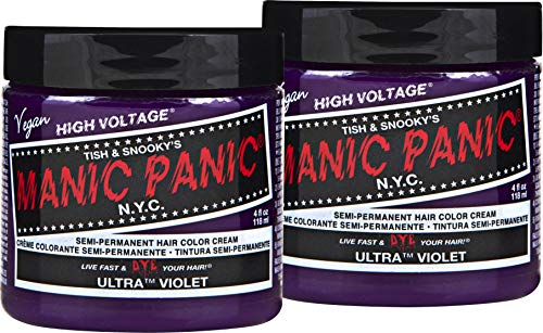 Manic Panic Ultra Violet Purple Color Cream (2-Pack) Classic High Voltage Semi-Permanent Hair Dye - Vivid, Purple Shade For Dark or Light Hair. Vegan, PPD & Ammonia-Free. Ready-to-Use, No-Mix Coloring (Pastel Hair With Manic Panic Ultra Violet)