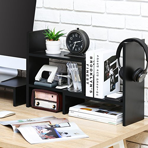 FITUEYES Desktop Organizer Office Storage Rack Adjustable Wood Display Shelf - Free Style Display True Natural Stand Shelf Rack Counter Top BookcasShelf Rack Counter Top Bookcase DT306801WB by FITUEYES (Image #4)
