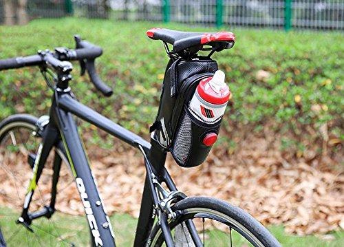 JOYORUN Satteltasche mit Flaschenhalter, Satteltasche Fahrrad, Strap-on Seat pack, Satteltasche Tube Bag, schwarz