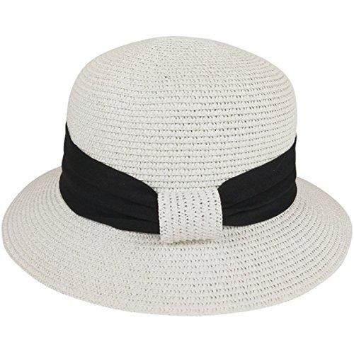 Lanzom Women Wide Brim Straw Foldable Roll up Cap Fedora Beach Sun Hat UPF50+ (White) by Lanzom (Image #3)
