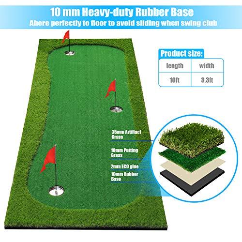 BOBURN Golf Putting Green/Mat-Golf Training Mat- Professional Golf Practice Mat- Green Long Challenging Putter for Indoor/Outdoor (Green, 3.3x10ft)