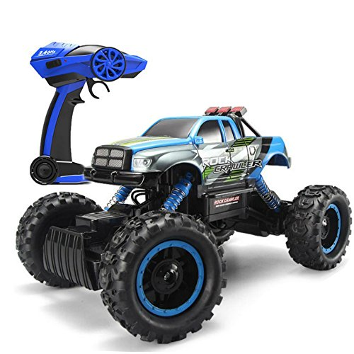 Blexy RC Cars Off-Road Rock Climber 2.4Ghz 4WD Remote Control Crawler Vehicle 1/14 Electric Racing Monster Truck Toy for Kids with LED Headlights, Blue