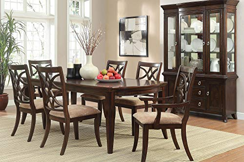 (Keiber Art Deco Asian 8PC Dining Set Table, 2 Arm, 4 Side Chair, Server in Rich Brown Cherry)