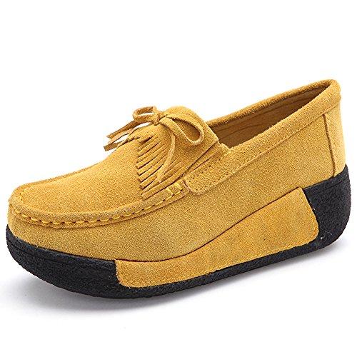 Hkr Wide Platform Tassel Woking Comfort Womens Ladies Wedge Width Flats Shoes Suede Giallo Mocassini rgxrFqnwW