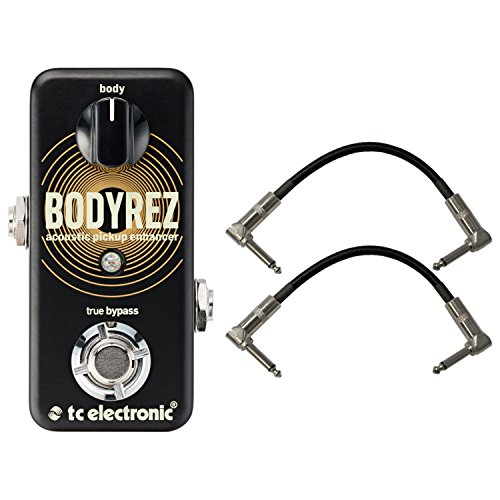 TC Electronic 960819005 Body Rez Acoustic Pickup Enhancer Pedal with a Pair of Pedalboard Patch Cables by TC Electronic