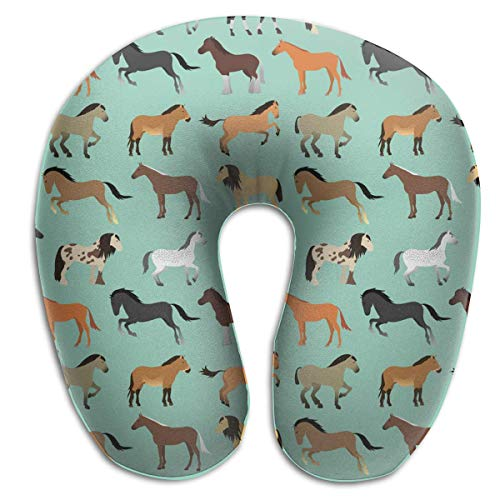 CHJOO Neck Pillow,Horse in Flat Style Comfortable Travel Pillow, for Travel, Home, Neck Pain, and Many More with The Comfort Support Pillows