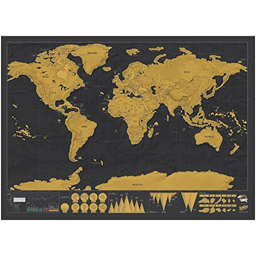 ASDOMO New Deluxe Travel Edition Scratch Off World Map Poster Personalized Journal Log Track Your Adventures