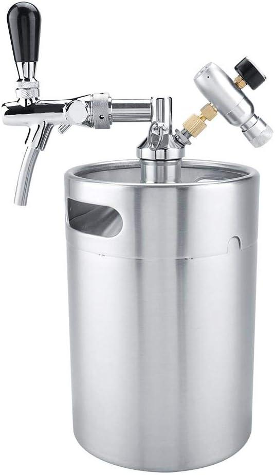 Asixx Barril de Cerveza, Mini Barril de Acero Inoxidable de 5L con Juego de dispensador de Cerveza Artesanal presurizado con Grifo para fermentar